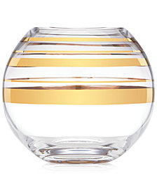 kate spade new york Hampton Street Gold Striped Rose Bowl Vase