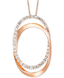 Le Vian Diamond Oval Pendant Necklace in 14k Rose Gold (5/8 ct. t.w.)