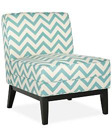 Peekskill Chevron Fabric Accent Chair, Quick Ship