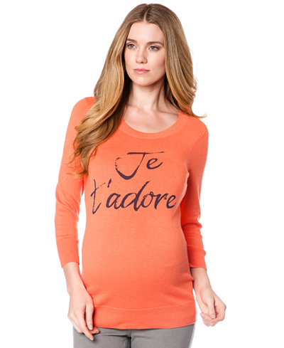 A Pea In The Pod Long-Sleeve Scoop-Neck Printed Maternity Tee