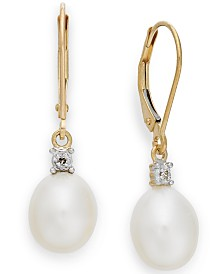 Cultured Freshwater Pearl (8mm) and Diamond Accent Earrings in 14k Gold