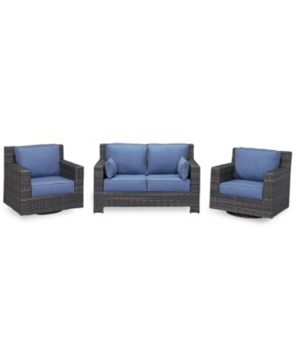 Viewport Outdoor Wicker 3-Pc. Seating Set (1 Loveseat and 2 Swivel Gliders) with Sunbrella® Cushions, Created for Macy's