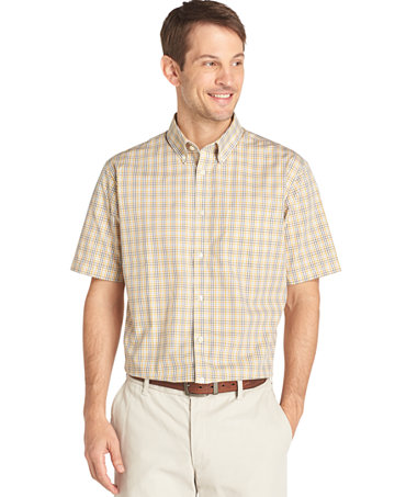 Van heusen big and tall no iron gingham short sleeve shirt for Big and tall button up shirts
