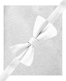 Alfani Mens White Pre-Tied Bow Tie & Pocket Square Set