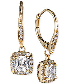 Anne Klein Gold-Tone Pavé Crystal Drop Earrings