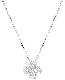 Swarovski Rhodium-Plated Crystal Pavé Four-Leaf Clover Pendant Necklace