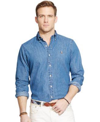 Denim Button Down Shirt Mens