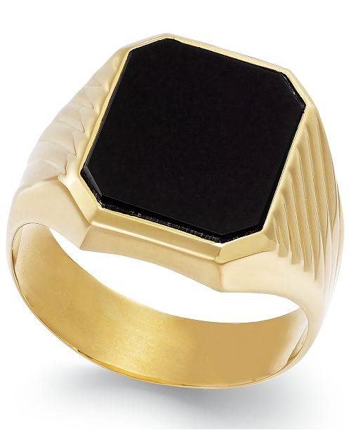 Macy's Men's Onyx  (3-3/4 ct. t.w.) Ring in 14k Gold