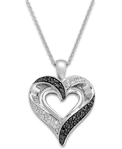 Diamond (1/4 ct. t.w.) Double Heart Necklace in Sterling Silver