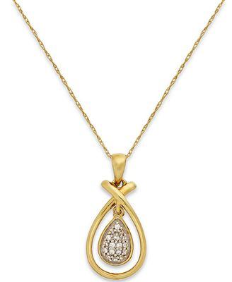 Diamond (1/10 ct. t.w.) Teardrop Frame Pendant Necklace in 10k Gold