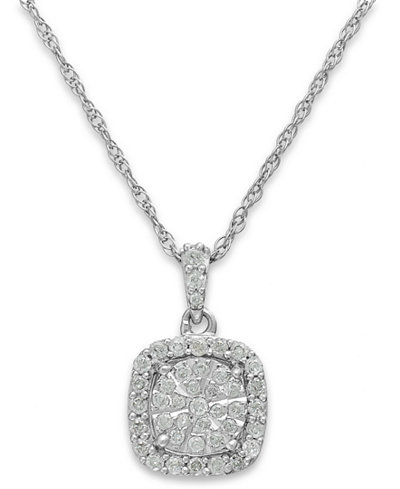 Diamond Cushion Pendant Necklace in Sterling Silver (1/3 ct. t.w.)