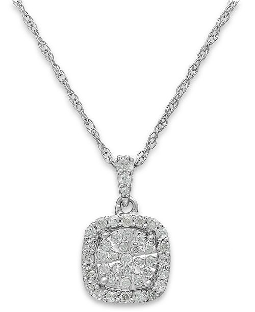 t.w.)  Macy s Diamond Cushion Pendant Necklace in Sterling Silver (1 3 ct. 9cd1e23a0a92