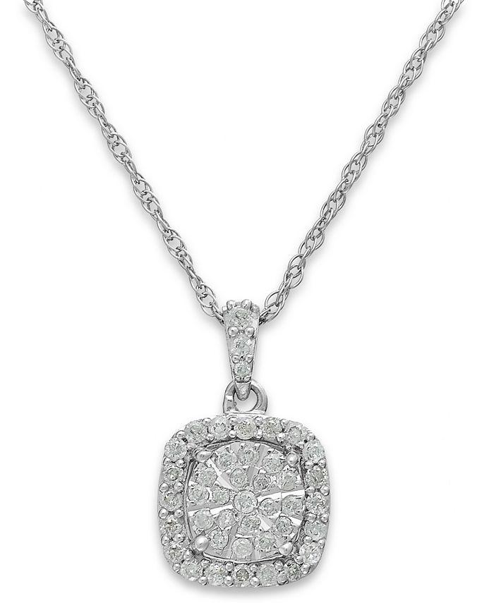 Macy's - Diamond Cushion Pendant Necklace in Sterling Silver (1/3 ct. t.w.)