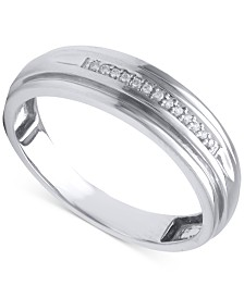 Beautiful Beginnings Mens Diamond Accent Wedding Band In 14k White Gold