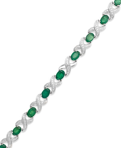 Emerald (7 ct. t.w.) and Diamond Accent XO Bracelet in Sterling Silver (also in Ruby and Sapphire)