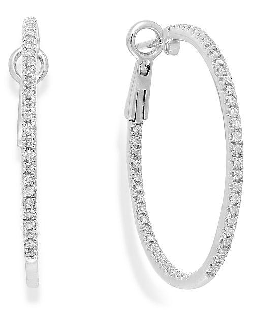 Macy's Diamond Hoop Earrings in 14k White Gold (1/2 ct. t.w.)