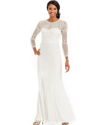 Adrianna Papell Long-Sleeve Beaded Illusion Gown - Dresses - Women ...