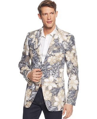 tallia big tall khaki navy tropical print linen slim fit blazer blazers sport coats. Black Bedroom Furniture Sets. Home Design Ideas