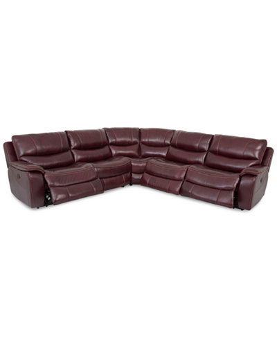 CLOSEOUT! Daren Leather 5-pc Sectional Sofa with 3 Power Recliners, Created for Macy's