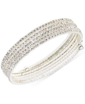 Image of Anne Klein Multi-Row Rhinestone Flex Bracelet