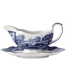 """Blue Italian"" Gravy Boat with Stand"