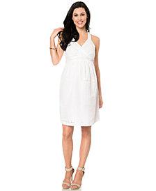 Motherhood Maternity Sleeveless V-Neck Eyelet Dress