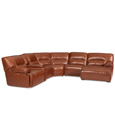 Beckett Leather 6 Piece Chaise Sectional Sofa With 1 Power