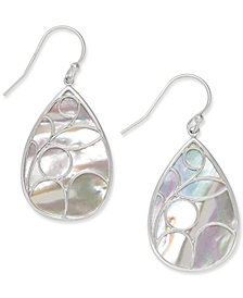 Mother of Pearl Caged Teardrop Earrings in Sterling Silver