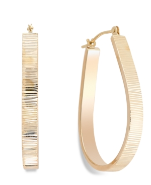 Ribbed Pear Hoop Earrings in 10k Gold, 28mm
