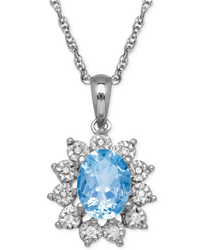 Blue Topaz (1-3/8 ct. t.w.) and Diamond Accent Pendant Necklace in 14k White Gold