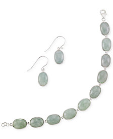 Jade Earring and Bracelet Set in Sterling Silver (13mm)
