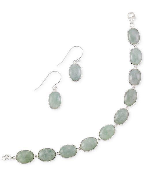 Macy's Jade Earring and Bracelet Set in Sterling Silver (13mm)