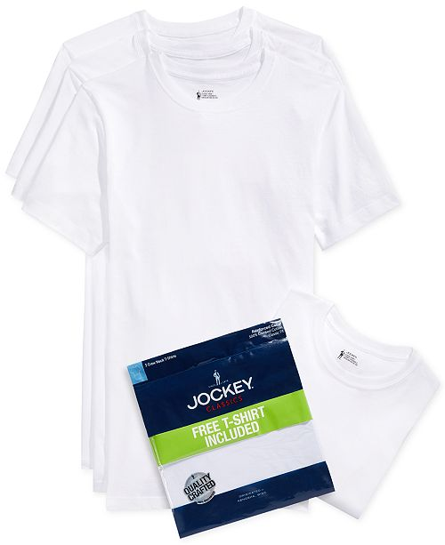Jockey Men's Tagless 3-Pack Crew Neck T-Shirts + 1 Bonus Shirt, Created for Macy's