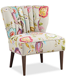 Kenzie Floral Fabric Accent Chair, Quick Ship