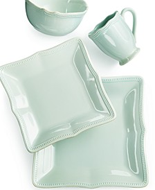 French Perle Bead Ice Blue Square 4 Piece Place Setting