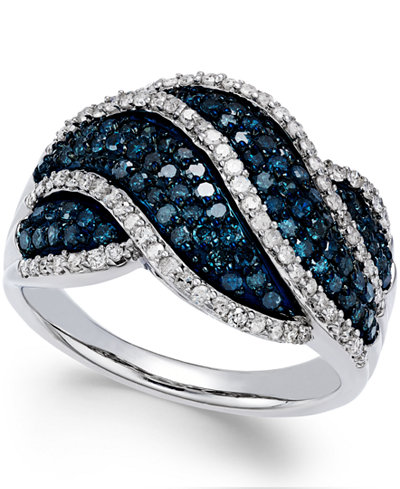 Wrapped in Love™ White and Blue Diamond Twist Ring in Sterling Silver (1 ct. t.w.), Created for Macy's