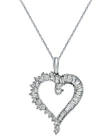 Diamond Heart Pendant Necklace in 14k White Gold (3/4 ct. t.w.)