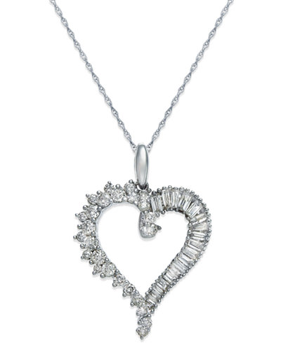 Diamond heart pendant necklace in 14k white gold 34 ct tw diamond heart pendant necklace in 14k white gold 34 ct tw aloadofball