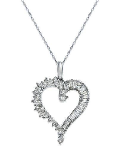 Diamond Heart Pendant Necklace in 14k White Gold (3/4 ct. t.w.)