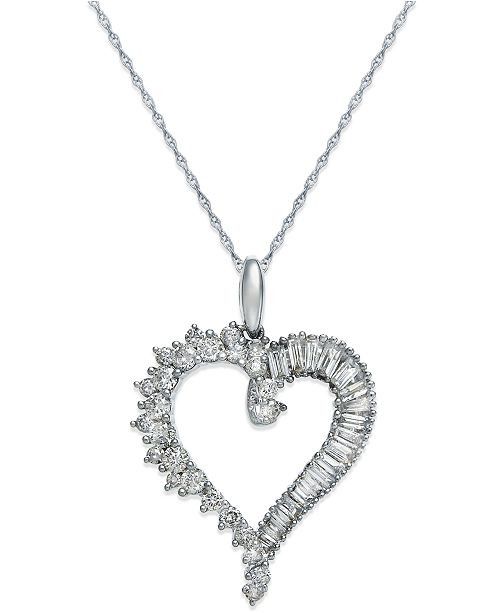 15cda49c7ccda Macy s Diamond Heart Pendant Necklace in 14k White Gold (3 4 ct ...