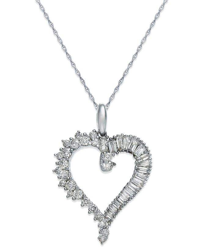 Macy's Diamond Heart Pendant Necklace in 14k White Gold (3/4 ct. t.w.)