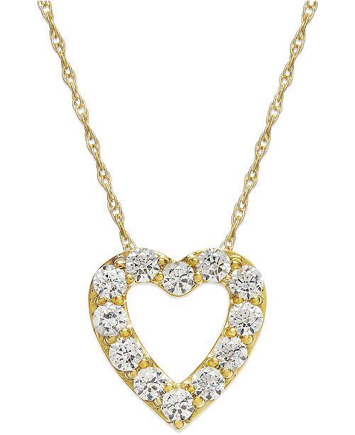 Macy's Diamond Heart Pendant Necklace in 14k Gold (1/4 ct. t.w.)