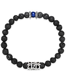Men's Onyx Lava Bead Bracelet in Stainless Steel