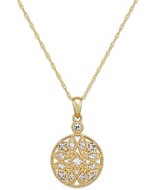 White Sapphire (1/4 ct. t.w.) Filigree Pendant Necklace in 14k Gold