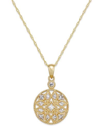 White Sapphire (1/4 ct. t.w.) Filigree Pendant Necklace in 14k Gold