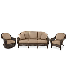 Monterey Outdoor Wicker 3-Pc. Seating Set (1 Sofa, 1 Club Chair, 1 Swivel Chair),with Custom Sunbrella®, Created for Macy's
