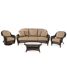 Monterey Outdoor Wicker 4-Pc. Seating Set (1 Sofa, 1 Club Chair, 1 Swivel Chair & 1 Coffee Table) with Custom Sunbrella®,  Created for Macy's