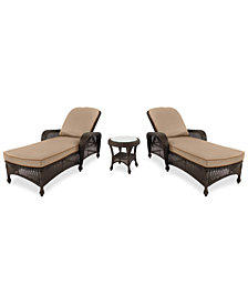 Monterey Outdoor Wicker 3-Pc. Chaise Set (2 Chaise Lounges & 1 End Table) with Custom Sunbrella®, Created for Macy's