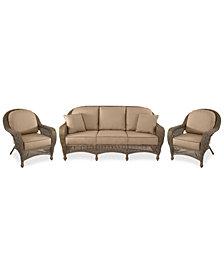 Sandy Cove Outdoor Wicker 3-Pc. Seating Set (1 Sofa and 2 Club Chairs) Custom Sunbrella®, Created for Macy's