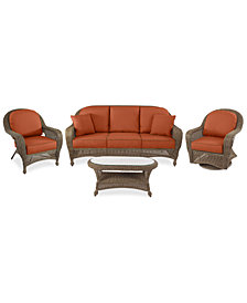 Sandy Cove Outdoor Wicker 4-Pc. Seating Set (1 Sofa, 1 Club Chair, 1 Swivel Glider and 1 Coffee Table) Custom Sunbrella®, Created for Macy's
